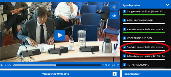 Agendapunt  5 Advies aan centrale stad over uitvoeringsagenda mobiliteit [21:05 - 21:55]  Een open gesprek tussen AB en Wethouder Litjens, met reactie op insprekers